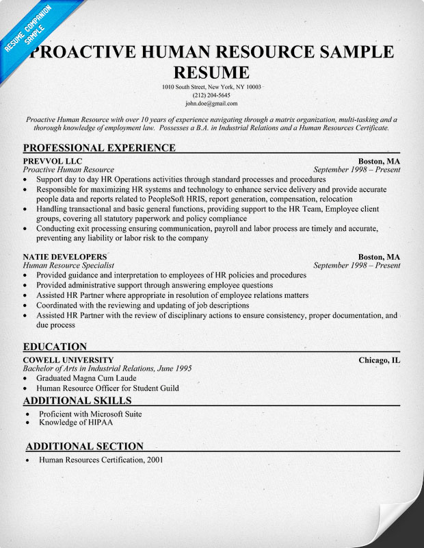 Human Resource Resume Resume Badak - resource specialist sample resume