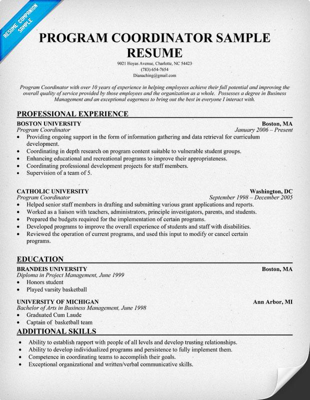 program coordinator resume - 28 images - download free software - after school program resume