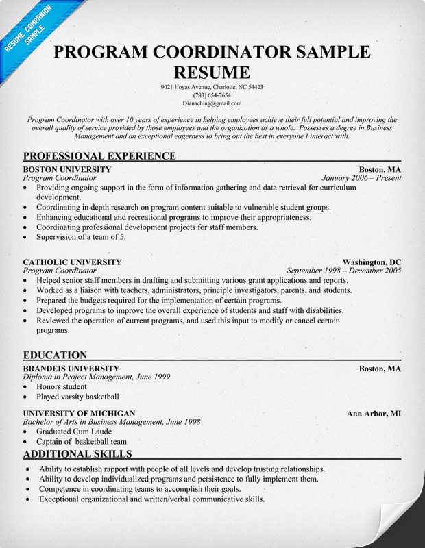 program coordinator resumes - Acurlunamedia