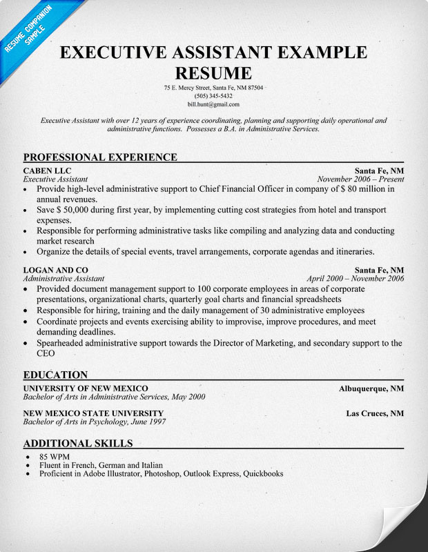 Professional Programming Assignment Help example of admin assistant - Executive Assistant Resume Templates