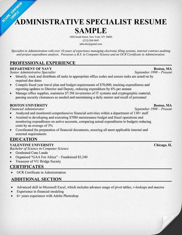 Administrative Specialist Resume Administrative Specialist Resume - administrative specialist sample resume