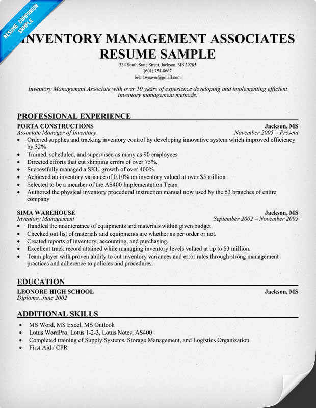 inventory associate resume - Eczasolinf - inventory management associates resume