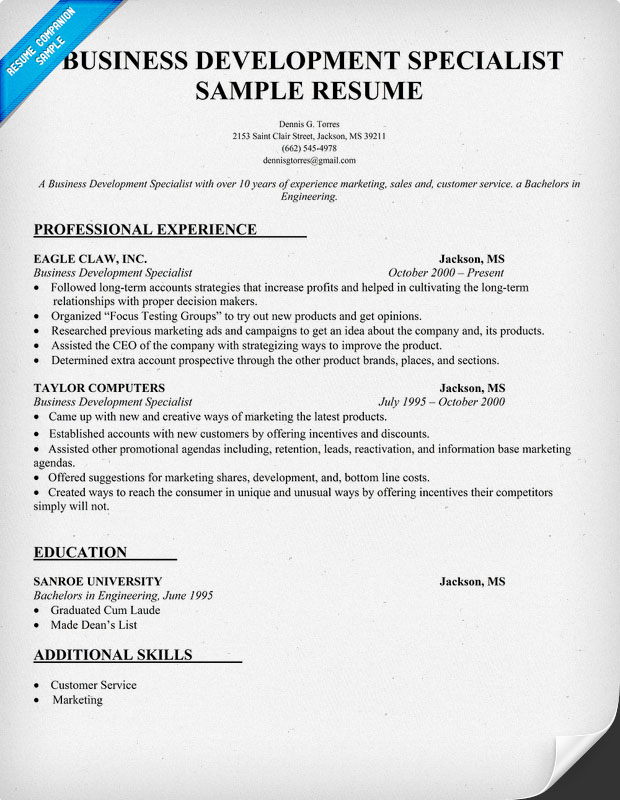 Athletic Trainer Sample Resume Cvtips Business Development Specialist Resume Template Images