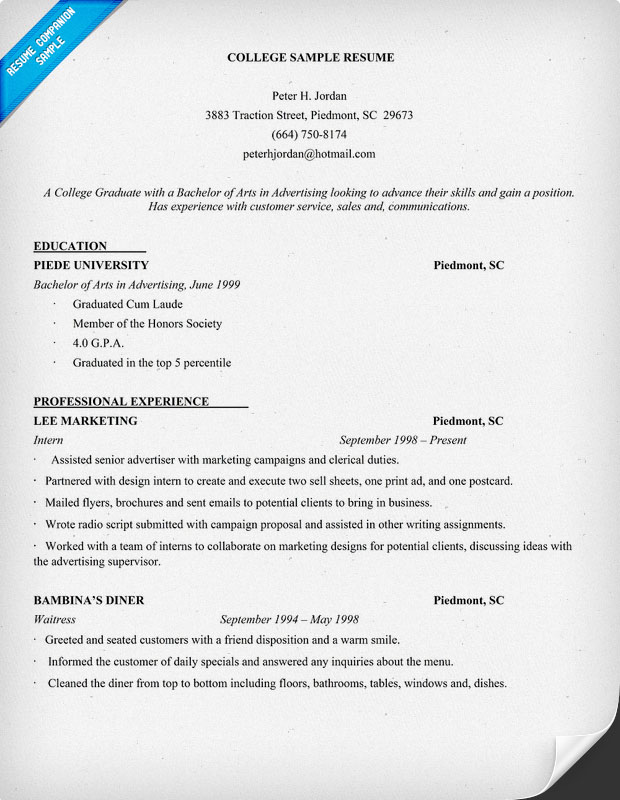 Sample College Grad Resume Resume Template For Recent College