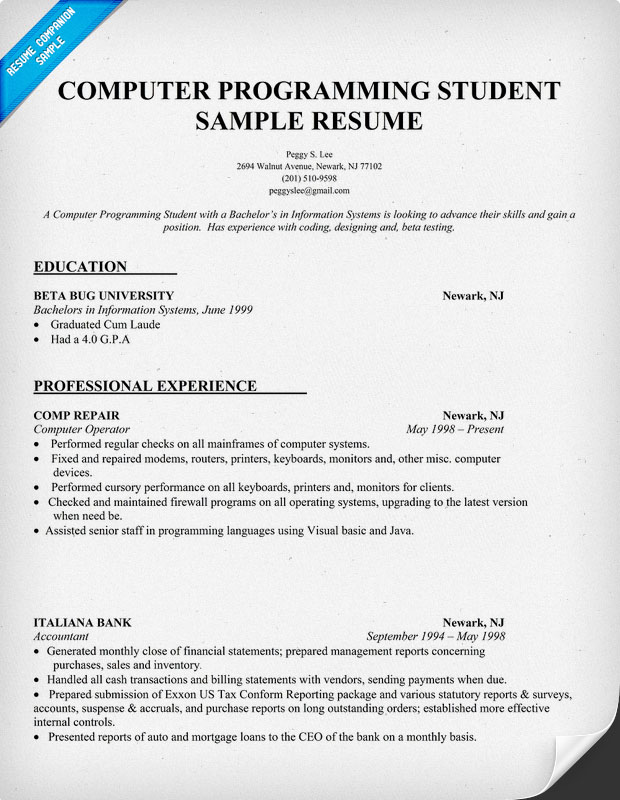 sample resume for computer programming student