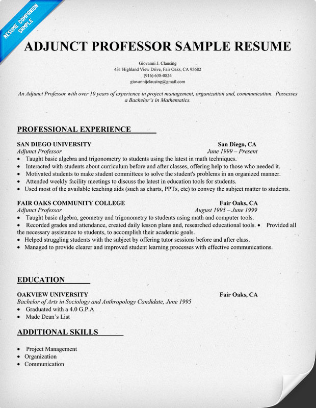 college adjunct faculty position resume example