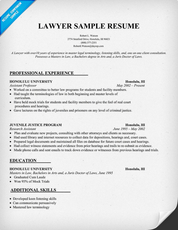 legal writing for lawyers sample resume