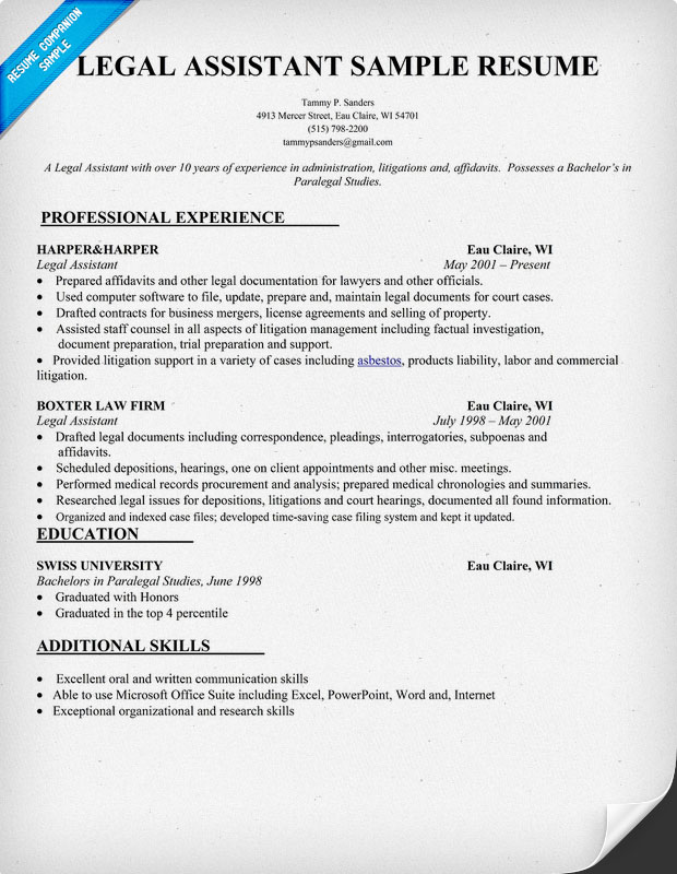 Resumes Legal Assistant | Free Resume Samples & Writing Guides for All