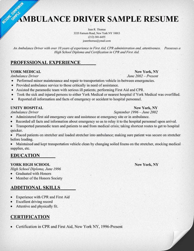 Resume For Bus Driver