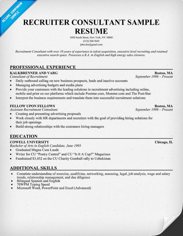 Sample Recruiter Resume | Resume Cv Cover Letter