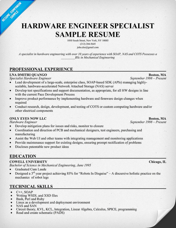 hardware resume format - 28 images - resume sles hardware engineer - Training Specialist Sample Resume