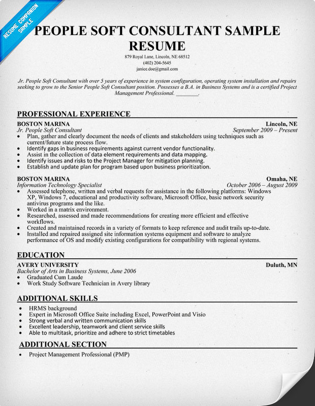 information technology it resume sample with attractive resume cv template also resume file name in addition - People Soft Consultant Resume