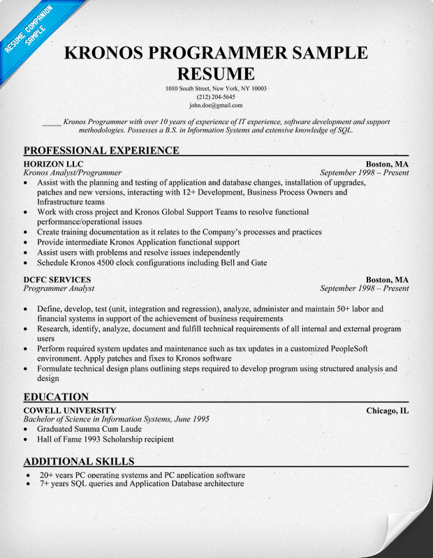 computer programming functional resume example