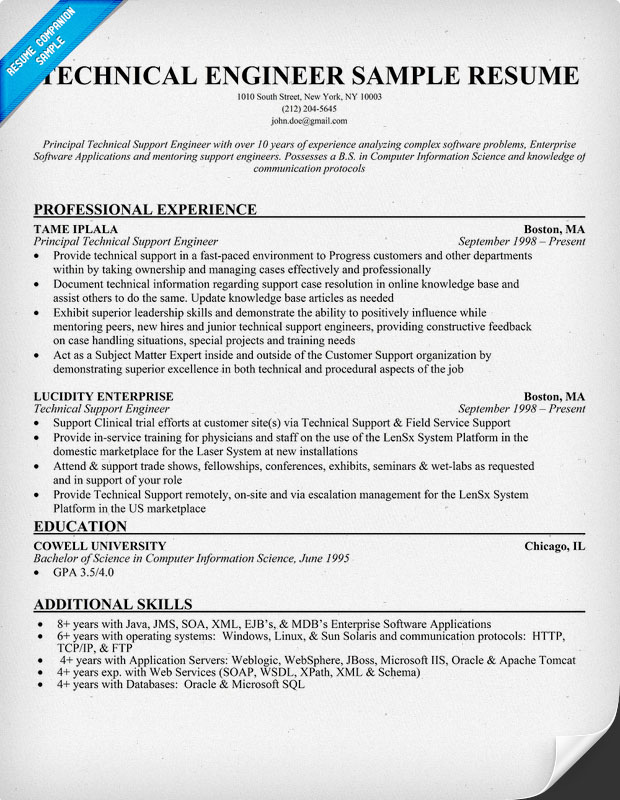 Technical support resume keywords