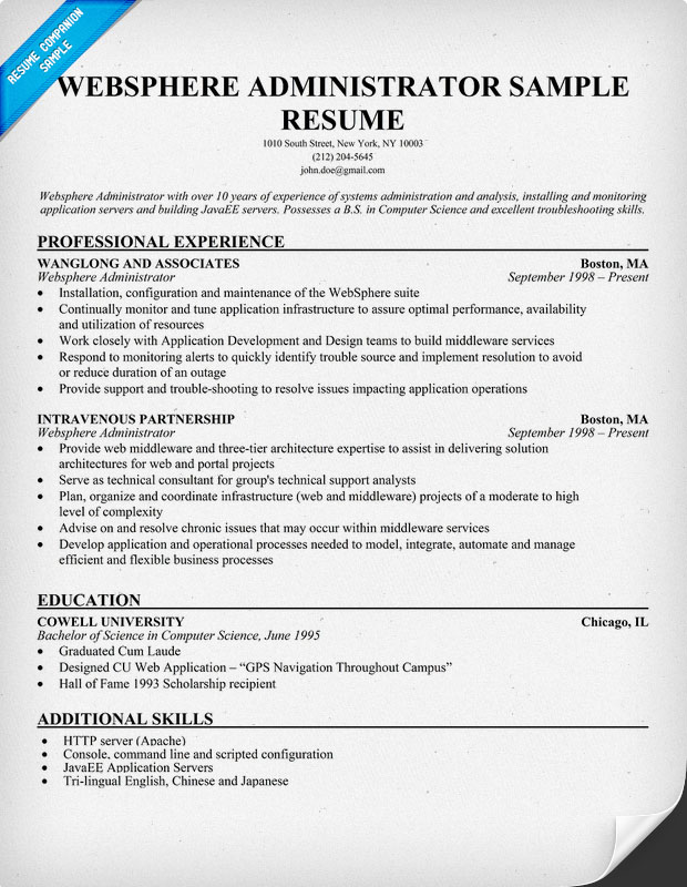 websphere mq admin sample resume