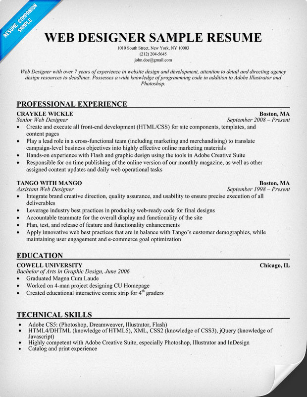 sample resume for freelance web designer - Resume Format For Web Designer