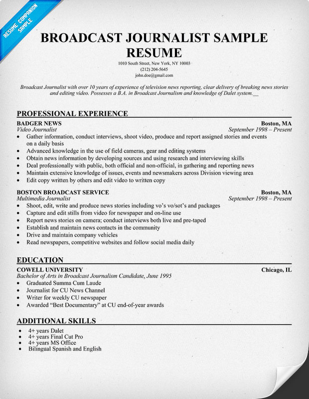 resume cover letter samples broadcasting academic cv format usa ...
