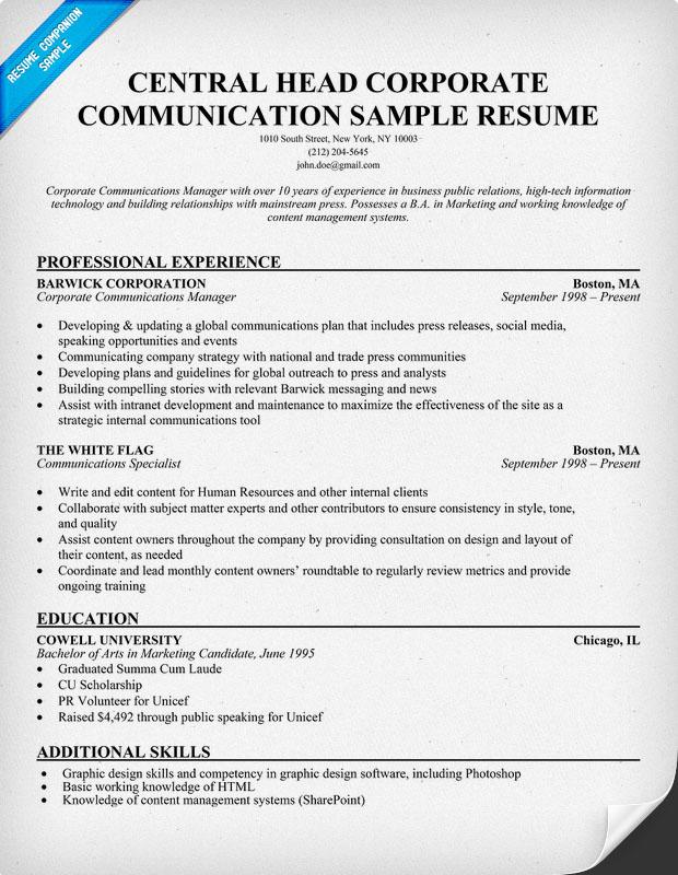 head of corporate communications job description