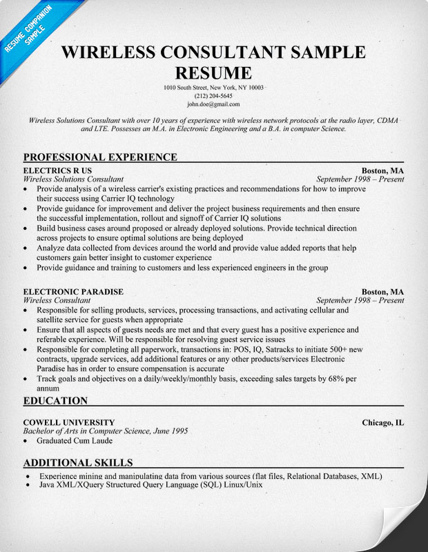 Wireless Consultant Resume - Gse.Bookbinder.Co