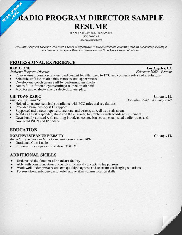 Radio Personality Resume Gallery - free resume templates word download