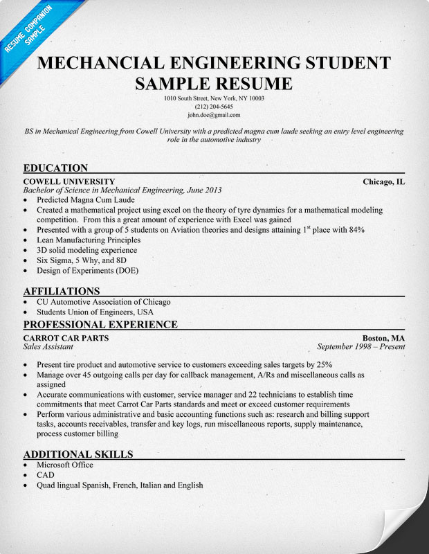 cv sample for a mechanical engineer