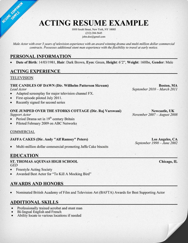 example of an acting resume