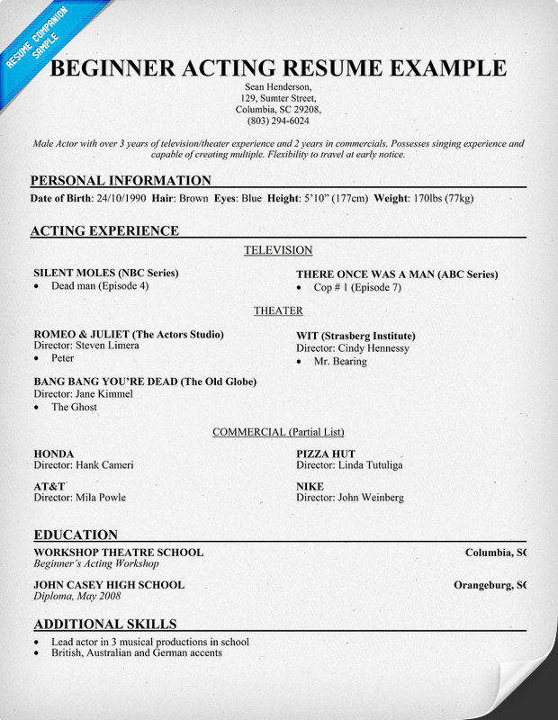 acting resume beginner - 28 images - acting resume for beginners - acting resume templates