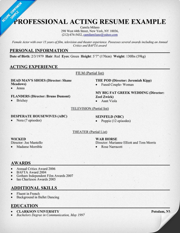 Acting Resume Example - Examples of Resumes - acting resume