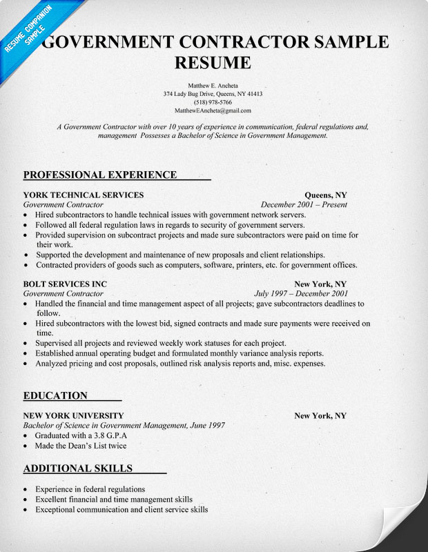 government contracting project resume templates