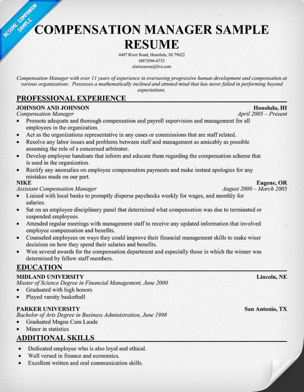 compensation manager resume - 28 images - compensation and benefits - compensation consultant sample resume