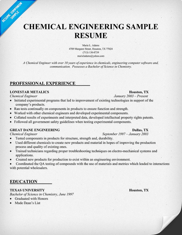 sample resume for chemical engineer