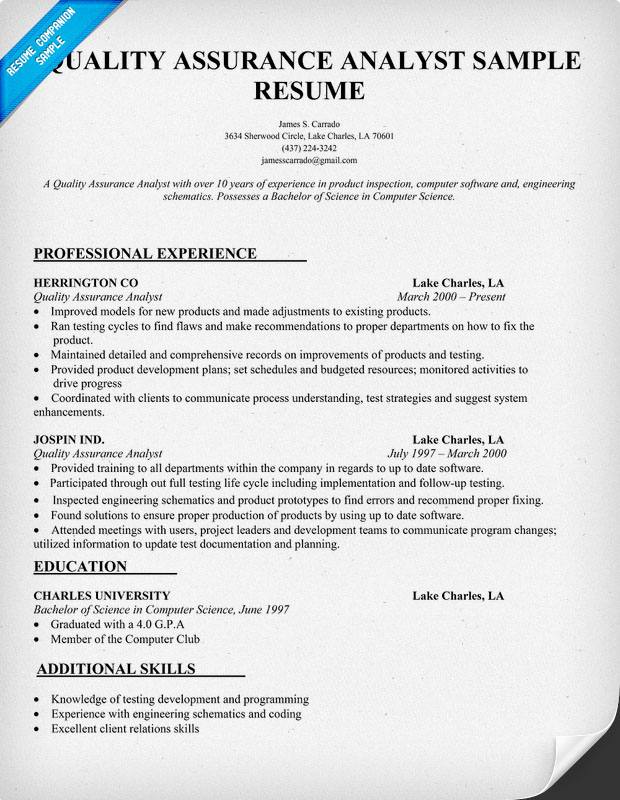 test analyst resume sample - Test Analyst Sample Resume