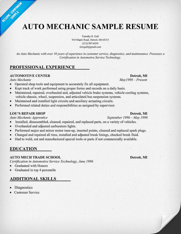 Auto Mechanic Resume Objective Examples Auto Technician Resume