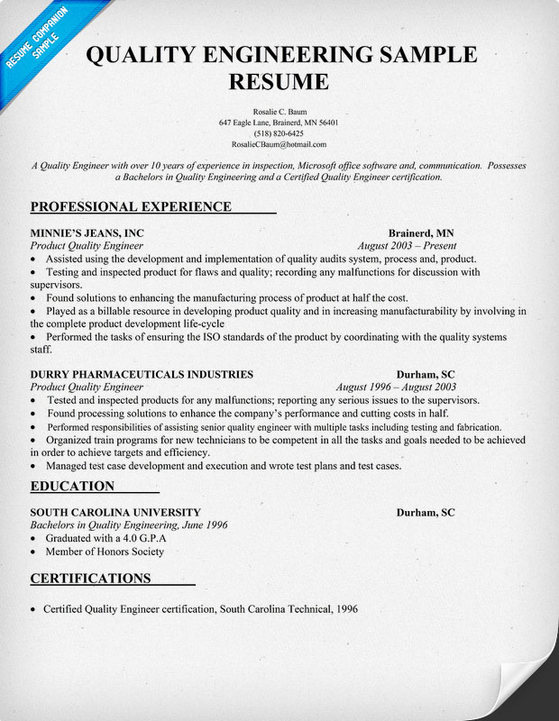 assurance engineer quality resume