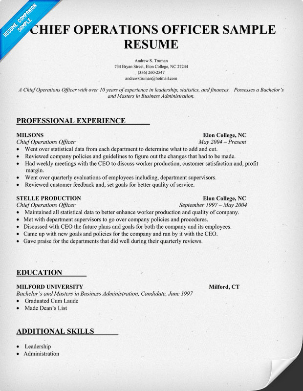 chief operations officer resume coo sle resume