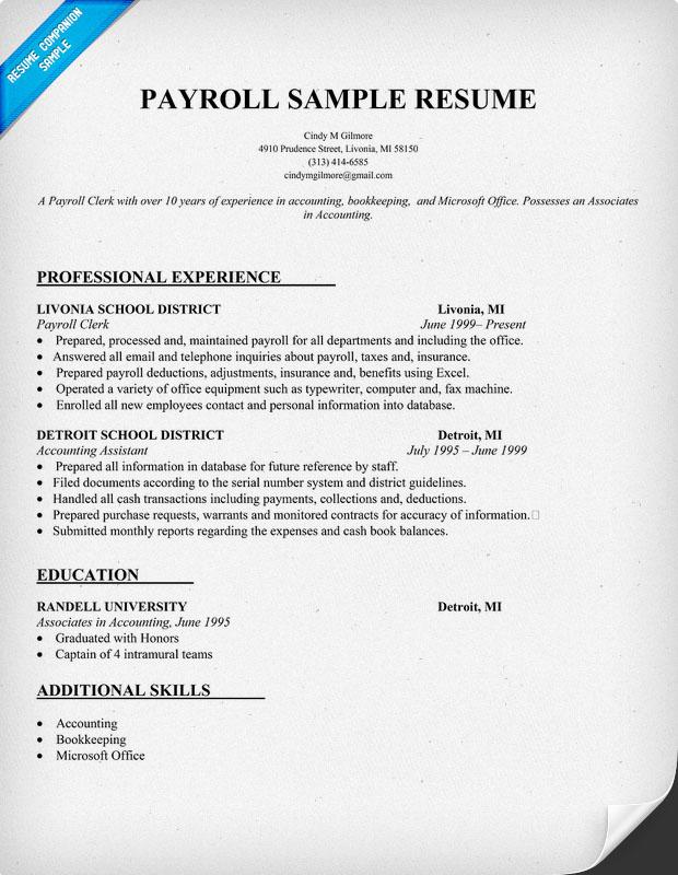Free resume samples payroll clerk