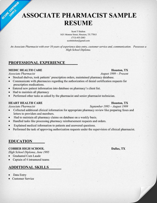 Pharmacist Resume Example Resume Badak