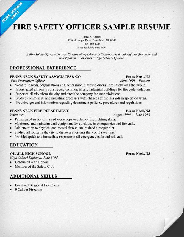 fire prevention officer resume sample