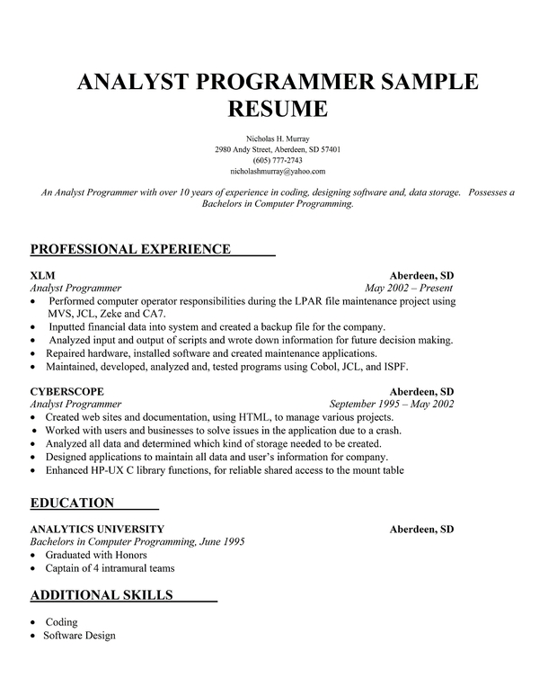 Articles and other writings Language Centre resume programmer or - programmer analyst sample resume