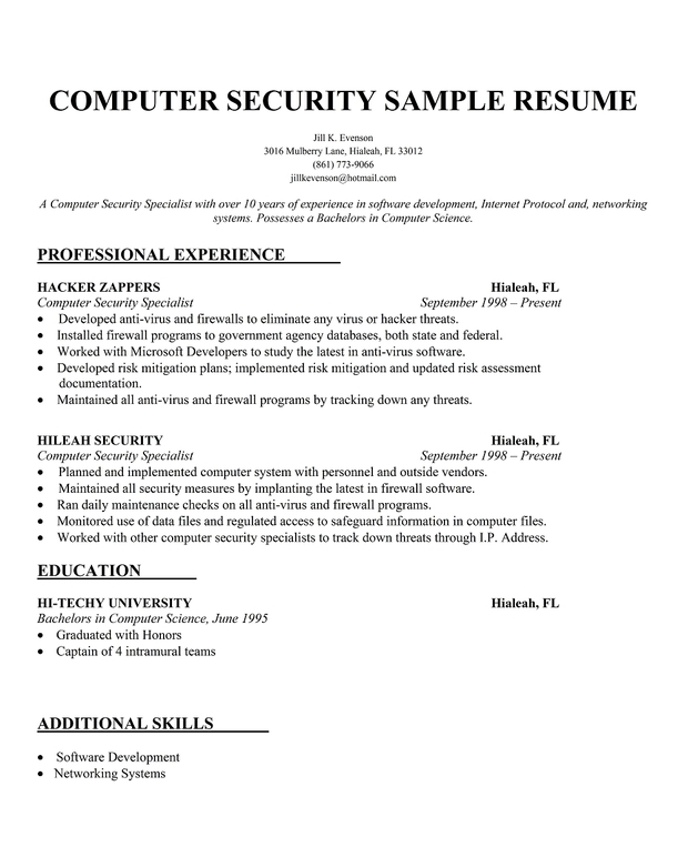 Computer Science Resume Sample Resume Template Pinterest