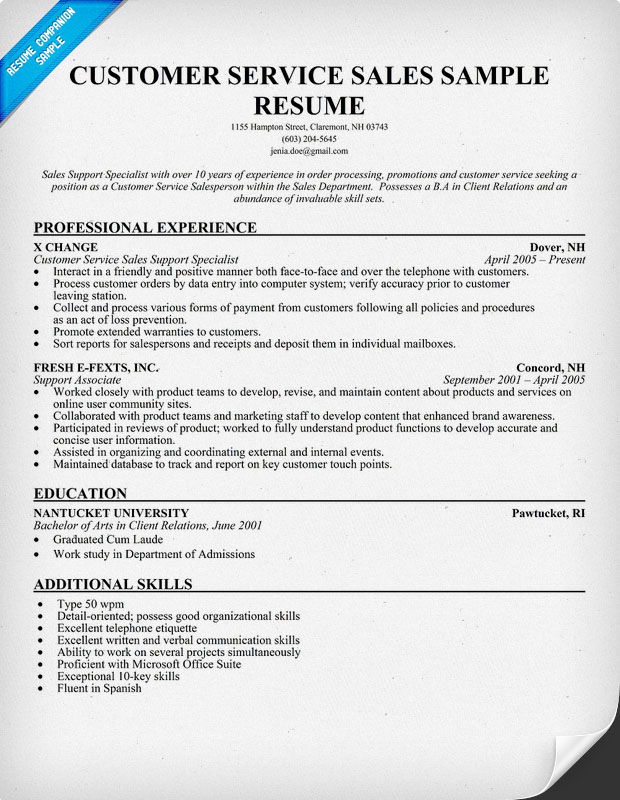 Salesperson resume example