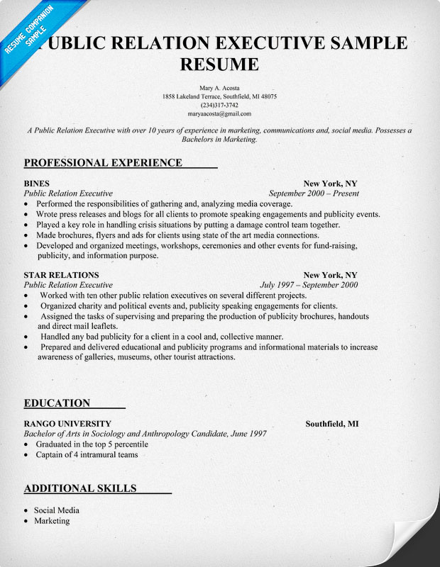 public relations cv - Intoanysearch - Sample Resume For Public Relations