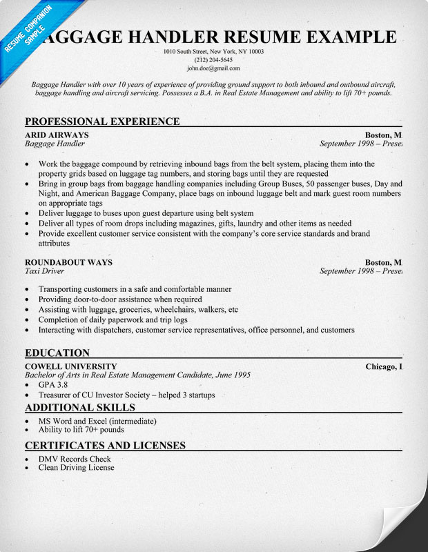 baggage handler resume example