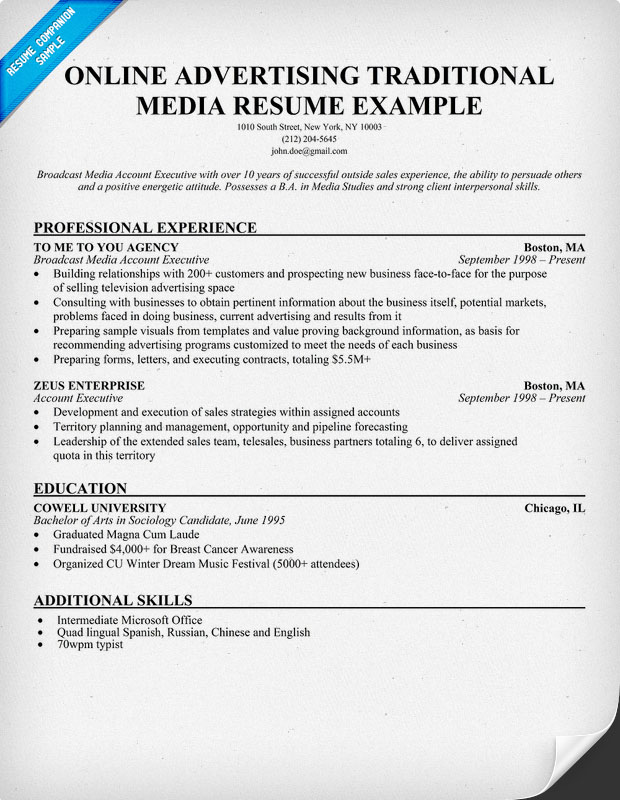 Online Resume Examples Resume Badak - advertising resume examples
