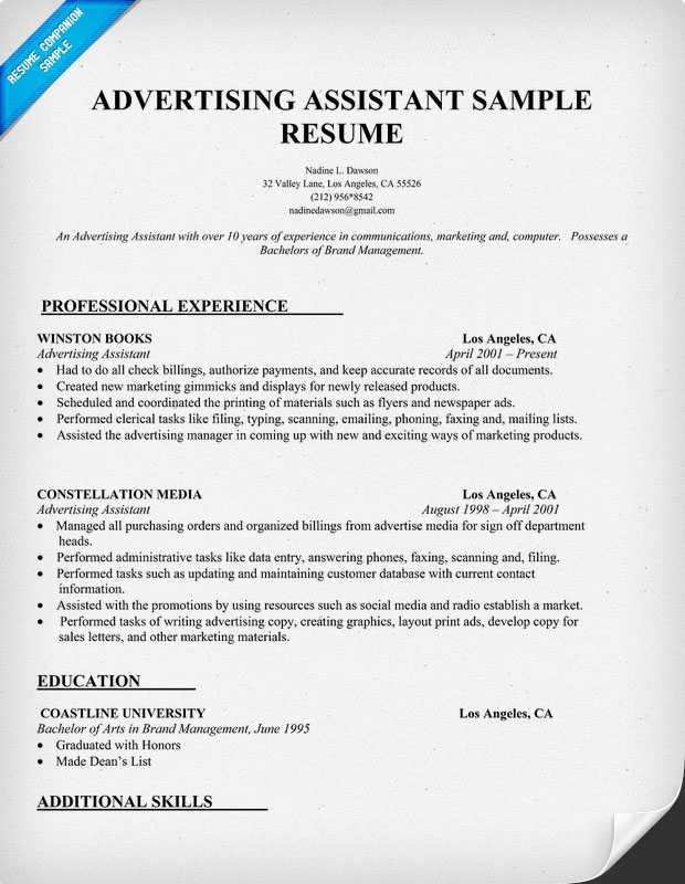 advertising assistant resume - 28 images - real estate assistant - advertising assistant resume