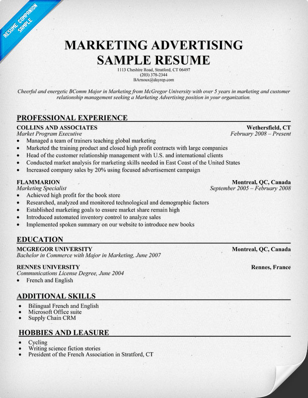 Marketing Sample Resume sample resume for marketing april