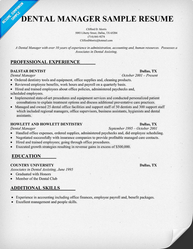 Example Of Dental Manager Resume