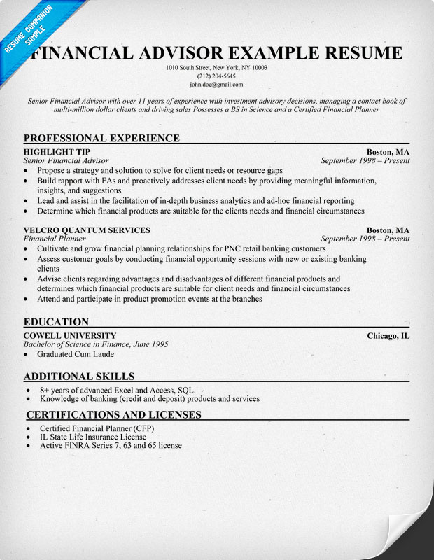 Top Edward Jones Financial Advisor Resume Samples Financial Manager Resume  Example Page  Financial Advisor Resume