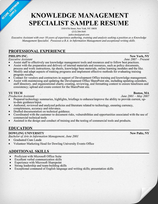 Resume Sample Knowledge Management Specialist Resume Template - training specialist resume