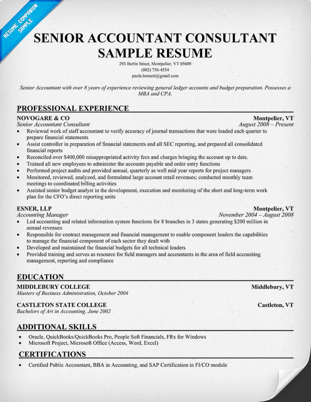 Accountant Sample Resumes – Sample Accounting Resume